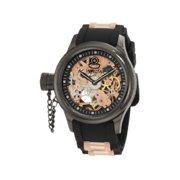 Men's 1847 Russian Diver Left Handed Mechanical Skeleton Dial Black Polyurethane Watch