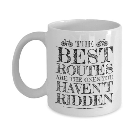 The Best Routes Pencil Sketch Art Coffee & Tea Gift Mug for Men & Women (Best Gifts For Cyclists)