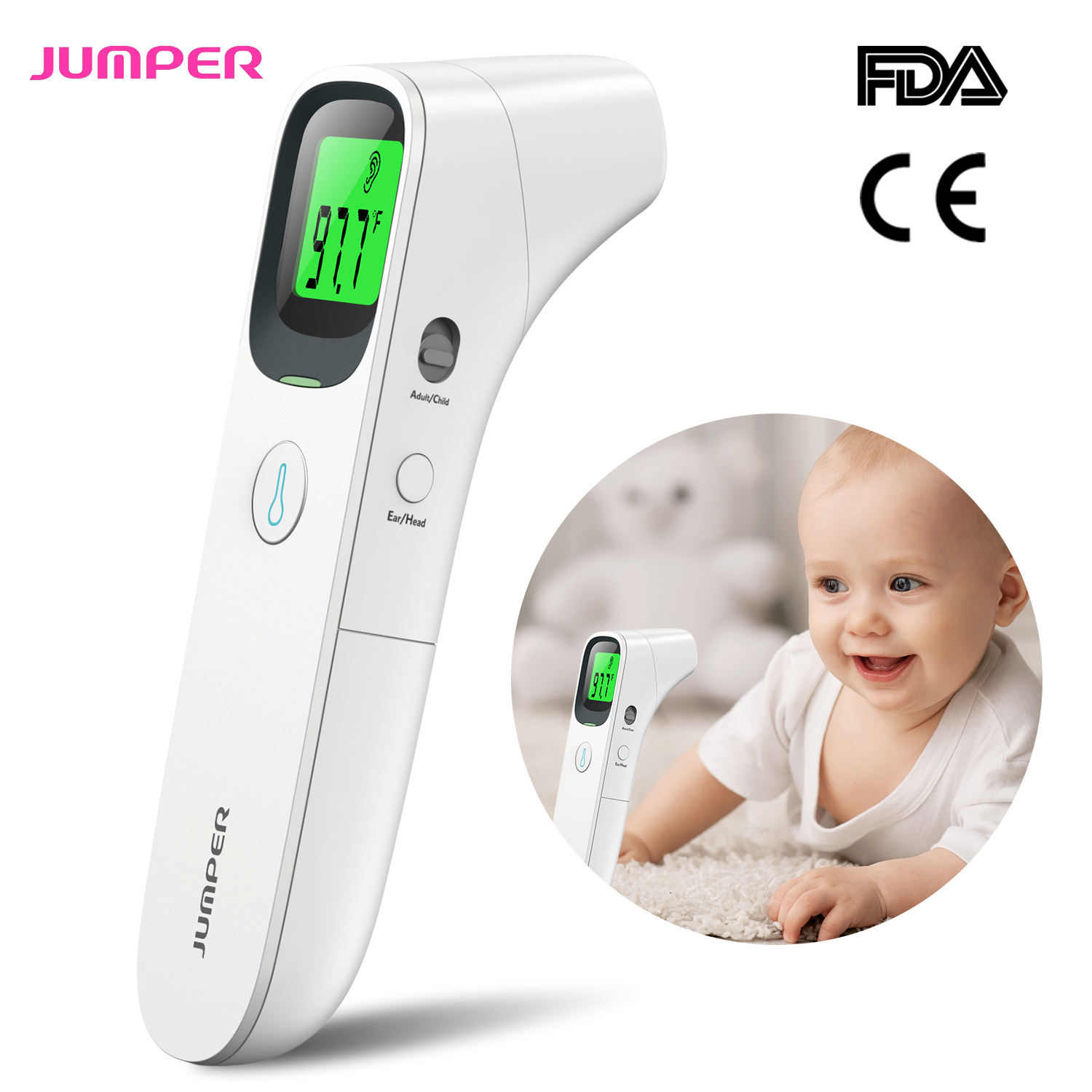 Blue Infrared Forehead Thermometer for Adults Kids Baby Infrared Digital Non-Contact Accurate Instant Readings Forehead Thermometer with LCD Display No Touch