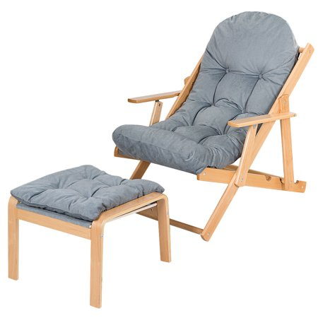 Gymax Folding Recliner Adjustable Lounge Chair Padded Armchair Patio Deck w/ Ottoman - image 10 of 10