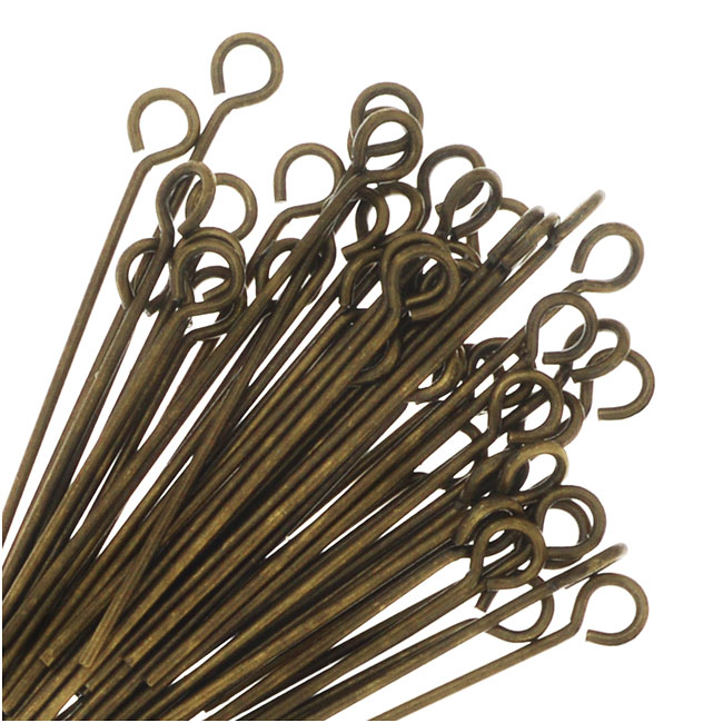Eye Pins, 1 Inch Long 23 Gauge Thick, 50 Pieces, Antiqued Brass