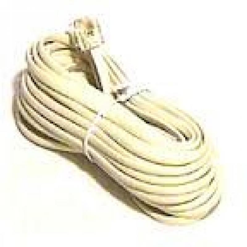 Philmore TEC20S Ivory 7 ft 4 Conductor Modular Telephone Cable