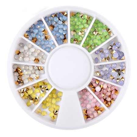 6 Colors Nail Art Decoration Sharp End Rhinestone Acrylic 3D Nail Art Sticker Manicure Tools, Rhinestone Nail Sticker, Manicure Tools - Cute Halloween Manicure