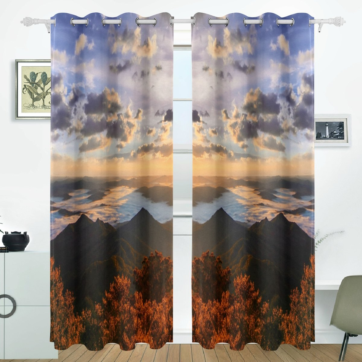 POPCreation Sun Shining Over Mountains Window Curtain Blackout Curtains  Darkening Thermal Blind Curtain For Bedroom Living