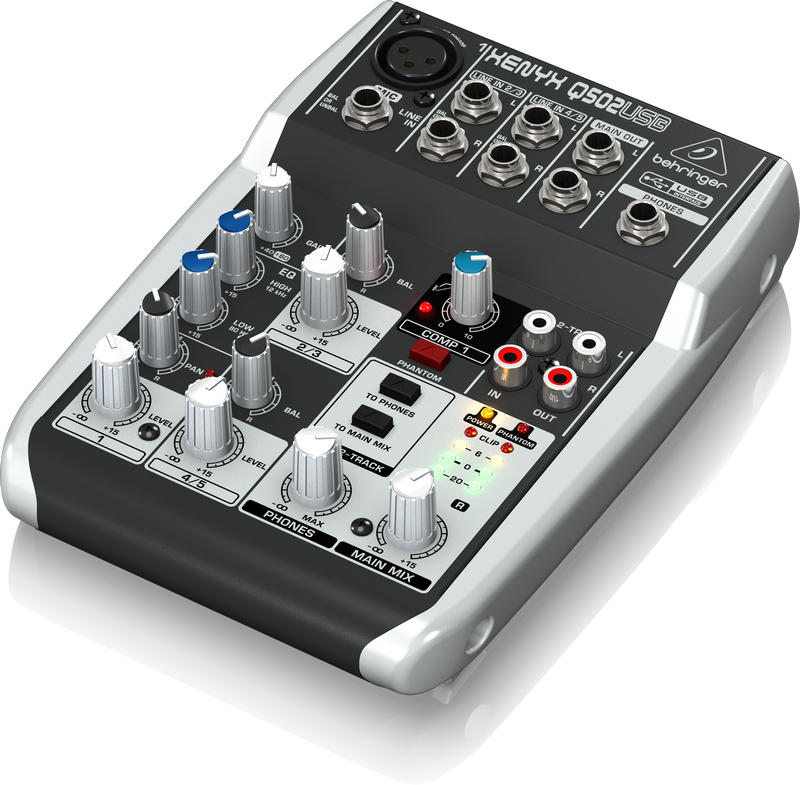 Behringer Q502USB 5-Input 2-Bus USB Audio Interface Mixer w/ XENYX Mic Preamps British EQ, Compressors & Multi-FX