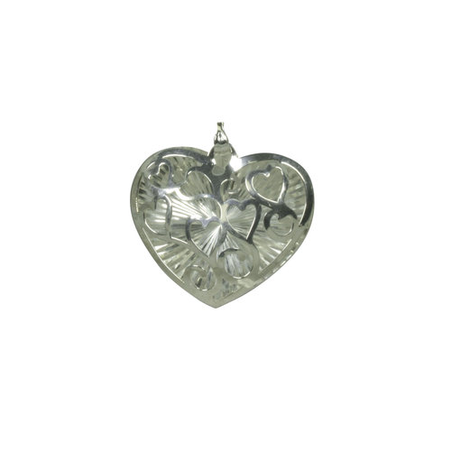 "Forever New Silver Tone Wire Diamond Cut Puffed Heart Pendant, 18"""