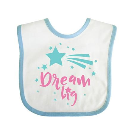 Inktastic Dream Big, Shooting Star, Wish - Pink Blue Infant Bib Unisex