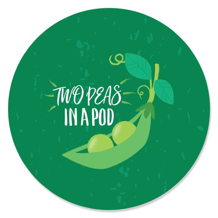 Double the Fun - Twins Two Peas in a Pod - Baby Shower or First Birthday Party Circle Sticker Labels - 24 Count