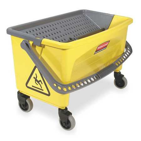 Wringer System - RUBBERMAID FGQ90088YEL Mop Bucket and Wringer, 28 qt, Yellow/Blk