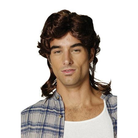 Brown Mullet Wig Adult Halloween - Spirit Halloween Brown Wig
