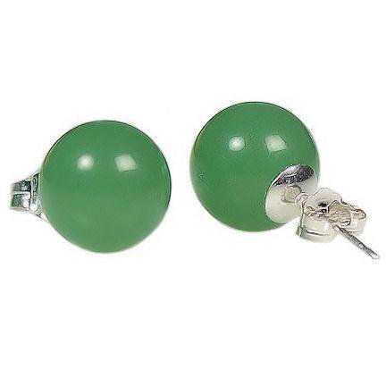 Trustmark Sterling Silver 10mm Natural Green Jade Aventurine Ball Stud Earrings