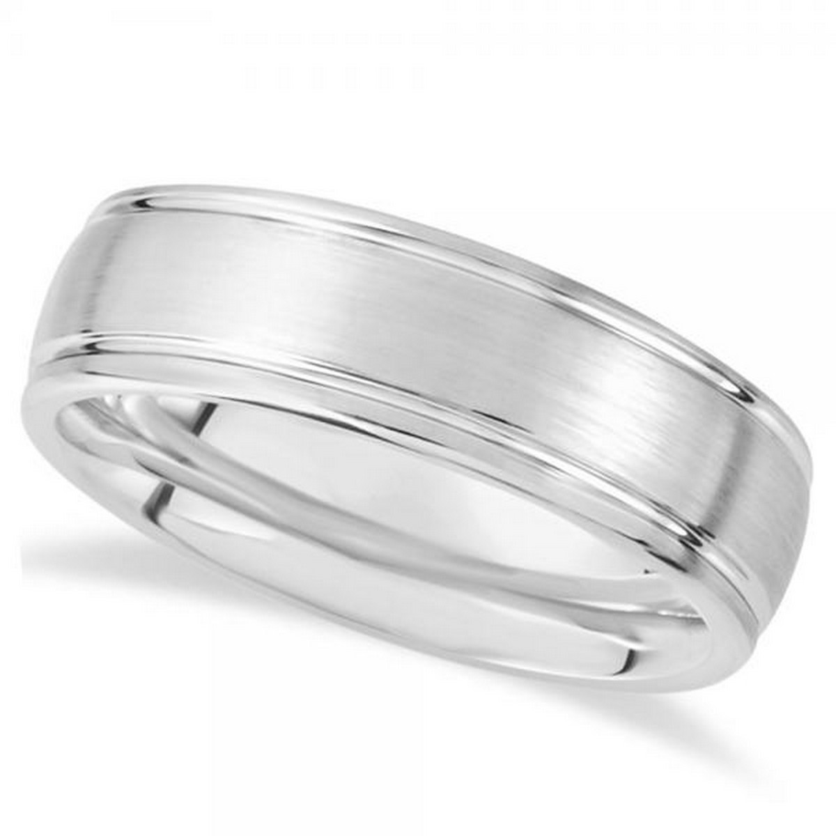 Jewels By Lux White Dura Tungsten 7.3mm Grooved Dome Wedding Ring Band