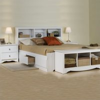 Prepac Monterey White Queen Wood Platform Storage Bed 3 Piece Bedroom Set