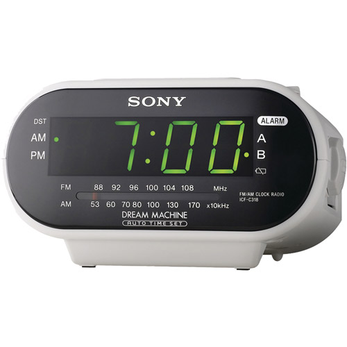 sony icf c318 automatic time set clock radio with dual alarm white rh walmart com sony dream machine clock radio icf-c318 manual Sony Clock Radio Manual