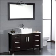 Cambridge Plumbing 48 inch Wood & Porcelain Vessel Vanity Set with Polished Chrome faucet.
