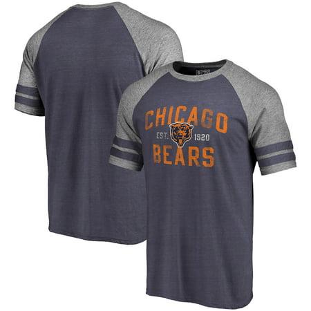 Chicago Bears Pro Line by Fanatics Branded Refresh Tenacity Retro Raglan Tri-Blend T-Shirt - Navy