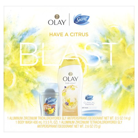 Secret Invisible Solid Vibrant Yuzu + Clinical Strength Smooth Solid Light and Fresh + Olay Fresh Outlast Body Wash Yuzu & Passion Flower, Gift Pack