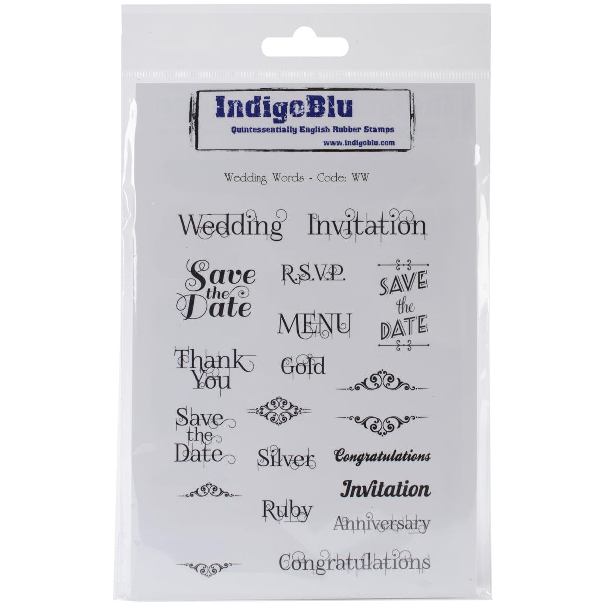 "IndigoBlu Cling Mounted Stamp 7""X5""-Wedding Words"