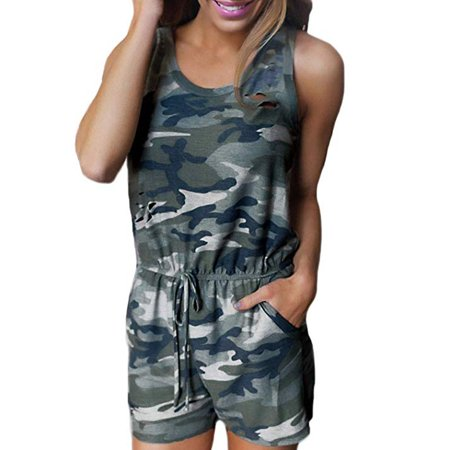 Women Floral Print Short Romper Sleeveless V Neck Half Zip Cute Short One Piece Jumpsuit Playsuit - Zip Playsuit