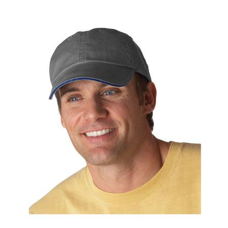 Pigment Dyed Baseball Cap (Anvil Men's Low Profile Sandwich Trim Pigment Dyed Twill Cap, Style 166)