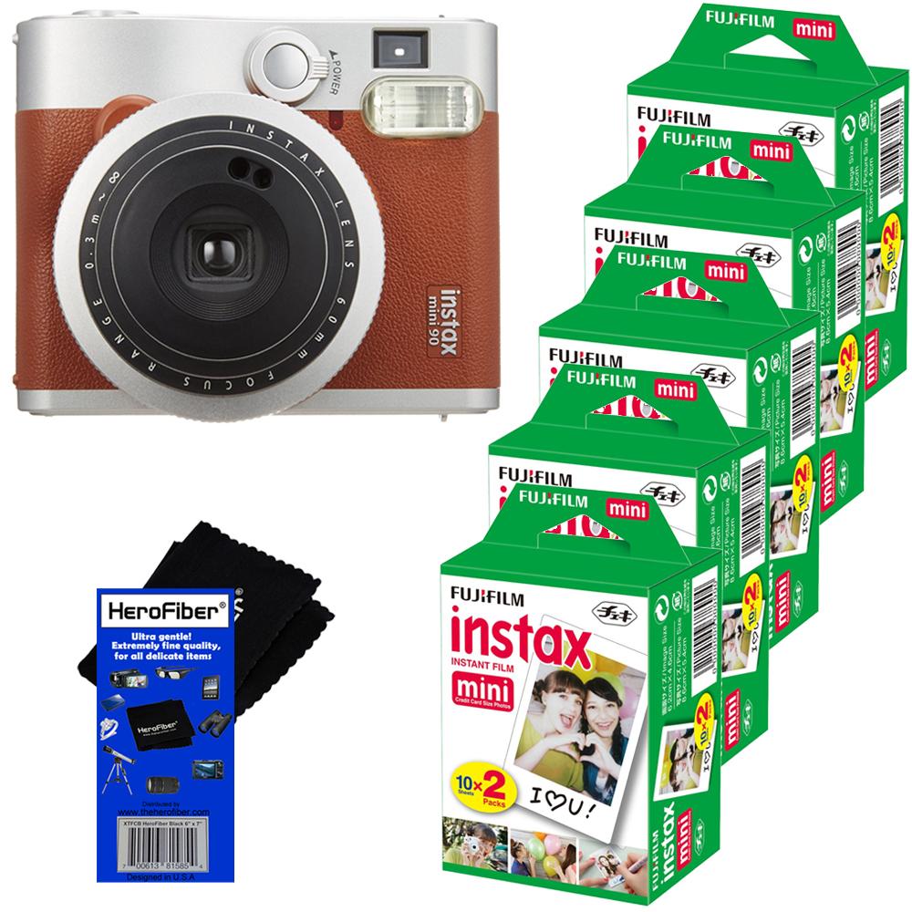 FujiFilm INSTAX Mini 90 Neo Classic Instant Film Camera (Brown) + FujiFilm Instax Mini Instant Film (100... by Fujifilm