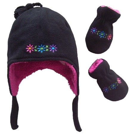 NICE CAPS Toddler Girls and Baby Sherpa Lined Flowers Embroidered Micro Fleece Hat and Mitten Winter Snow Cold Weather Headwear Accessory Set - Fits Little Kids Children and Infant Sizes (Girls Caps And Hats)
