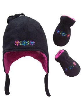 NICE CAPS Toddler Girls and Baby Sherpa Lined Flowers Embroidered Micro Fleece Hat and Mitten Winter Snow Cold Weather Headwear Accessory Set - Fits Little Kids Children and Infant Sizes
