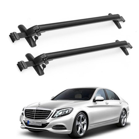 (2Pcs Aluminum Car Top Luggage Roof Rack Cross Bar Carrier Adjustable Window Frame)