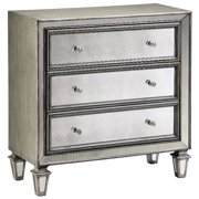 Mirrored Accent Chest in Silvery Gray