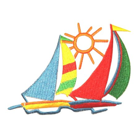 ID 0364 Pair of Sailboats Sunset Patch Ocean Craft Embroidered Iron On Applique