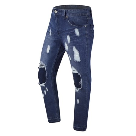 NEW Men Ripped Knee Distressed Denim Blue Jeans Pants Rips ALL SIZES Zipper Bike (Mens Dirt Bike Pants 32)