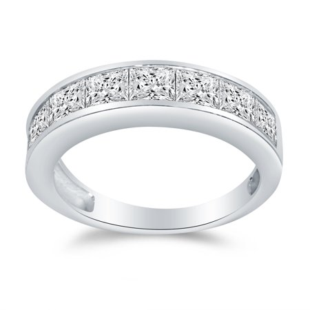 Solid 14k White Gold 4mm Princess Cut Invisible Anniversary Ring Wedding Band CZ Cubic Zirconia 1.50cttw. , Size