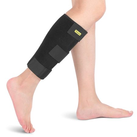 Dilwe Calf Compression Brace Shin Splint Support Sleeve Lower Leg Compression Wrap Support Adjustable Comfortable for Reduces Calf Muscle Pain Strain Injury and Swelling, Fits Men and Women(Black)