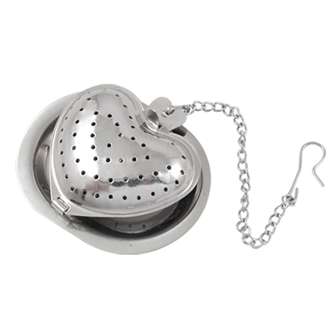 Mini Tray Heart Shape Funny Tea Ball Infuser Strainer Steeper with Chain