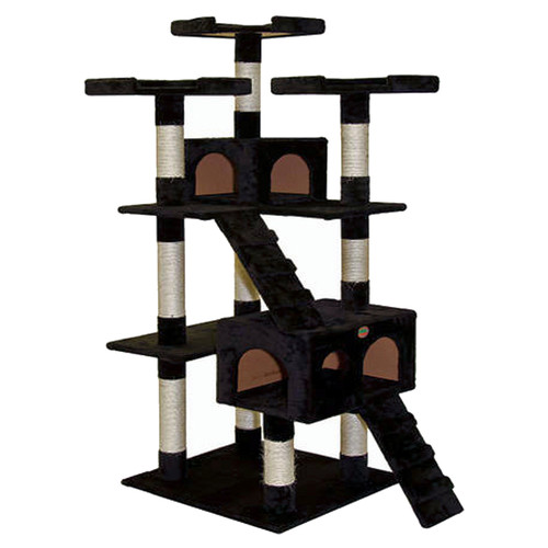 "GoPetClub 72"" Black Cat Tree Condo Furniture"