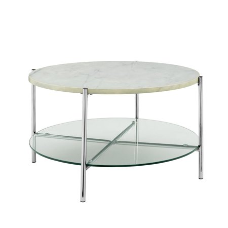 32 Inch Round Coffee Table With White Faux Marble Top And Gl Shelf