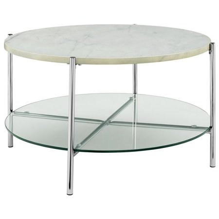 32 inch Round Coffee Table with White Faux Marble Top and Glass Shelf