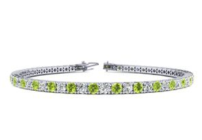 6 Inch 2 1 2 Carat Peridot And Diamond Tennis Bracelet In 14K White Gold by