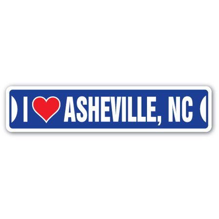 I LOVE ASHEVILLE, NORTH CAROLINA Street Sign nc city state us wall road décor
