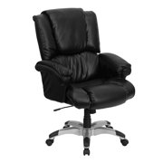 A Line Furniture Bowers Black Leather Overstuffed Executive Adjustable Swivel Office Chair