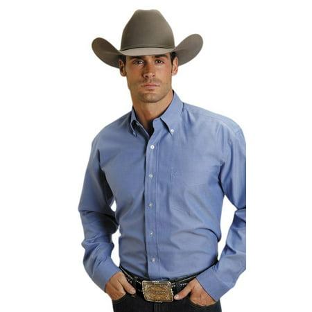 6e00479af271b Stetson Western Shirt Mens L S Solid Button Blue 11-001-0566-0023 BU ...