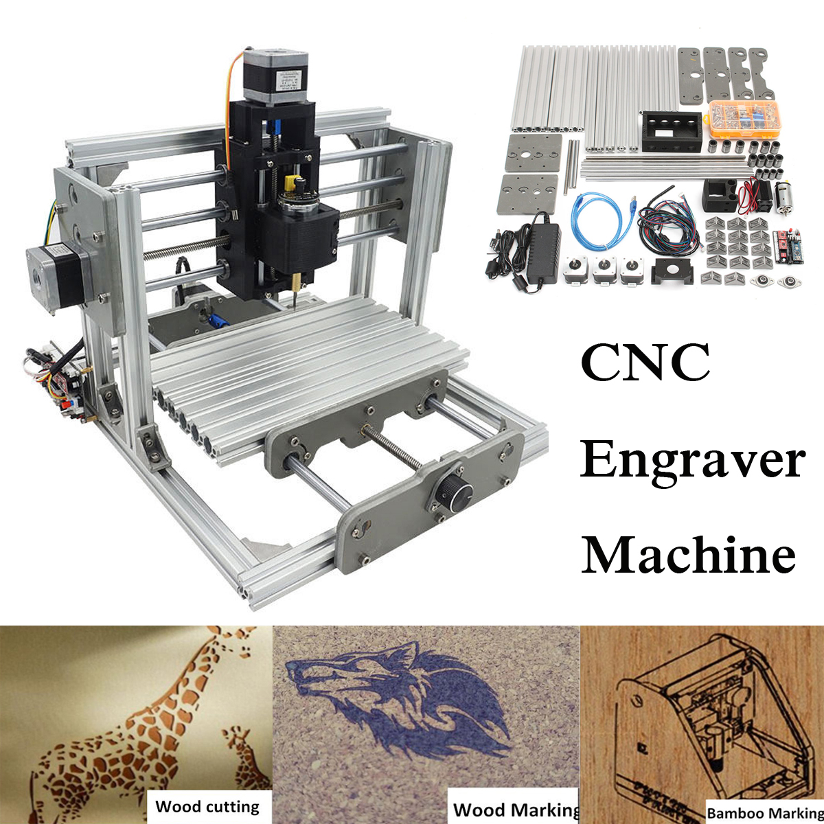 2500mw 3 Axis DIY Mini Laser Engraver CNC Engraving Router Milling Machine Kit 24x17cm