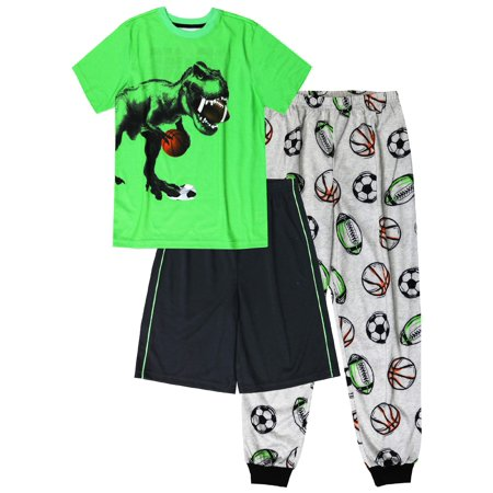 Wonder Nation Boy's 3 Piece Pajama Short Sleep Set (Big Boys & Little - Skeleton Pyjamas Boys