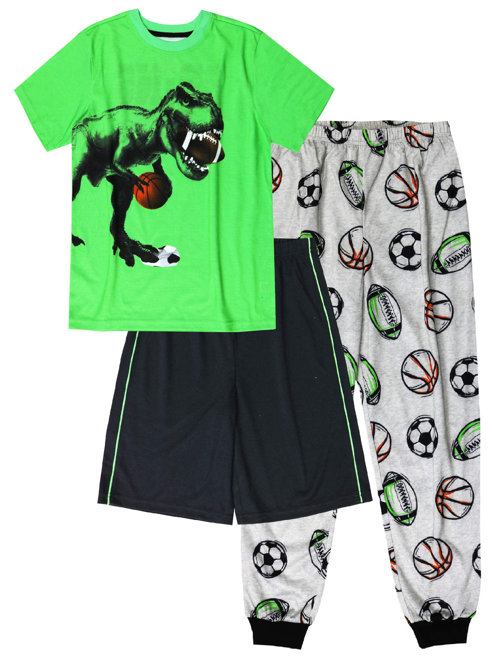 Wonder Nation Boy's 3 Piece Pajama Short Sleep Set (Big Boys & Little Boys)