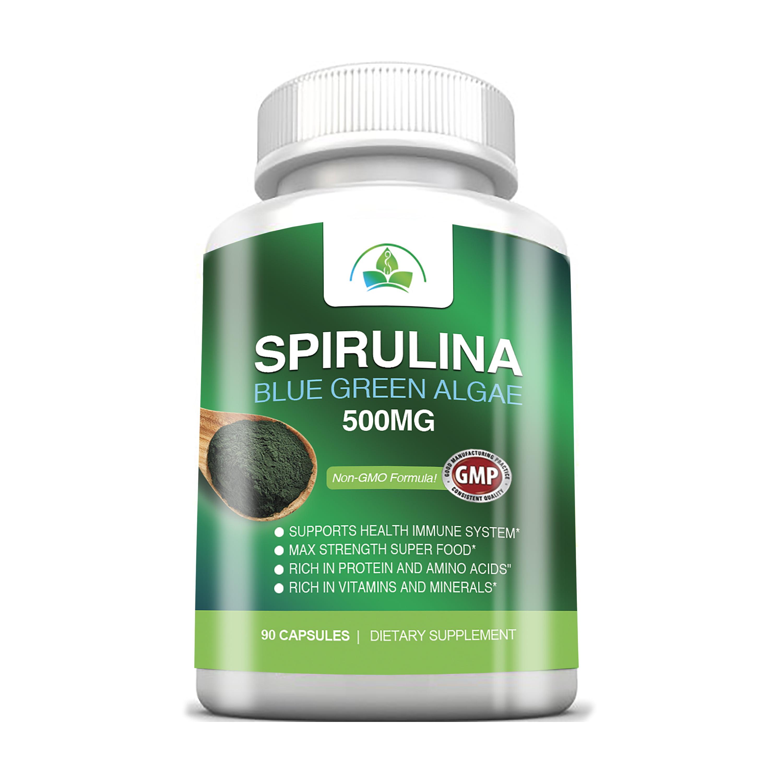 Non-GMO Spirulina 500mg Maximum Strength with Blue Green Algea Super Food (90 capsules)