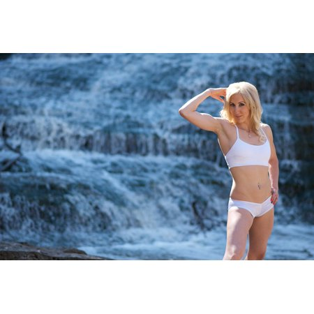 Canvas Print Fitness Fit Woman Waterfall Female Blonde Model Stretched Canvas 10 x