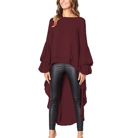 (Women's Lantern Long Sleeve High Low Irregular Asymmetrical Hem T Shirts Dress Tops Clubwear Maxi Blouses Tunic Tops)