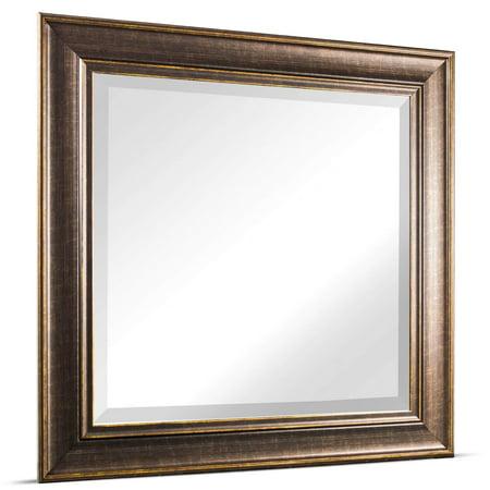 Crystal Art Gallery American Art Decor Bentley Medium Square Oil Rubbed Bronze Framed Beveled Wall Vanity Mirror - Brown - A/N