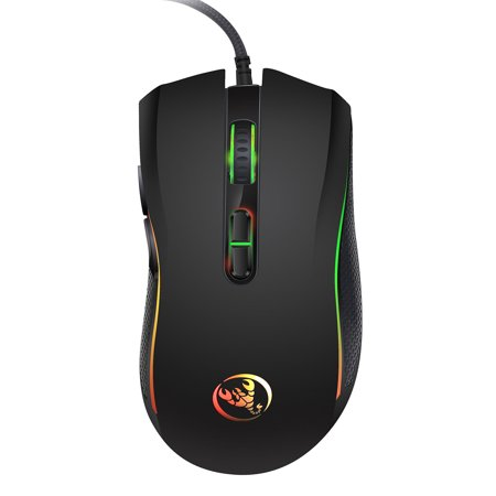 Gaming Mouse, USB Wired RGB Backlit Gaming Mouse with 7 Colors LED Backlight, 4 DPI Settings Up to 3200 DPI, 7 Programmed Buttons for Laptop PC Computer Games & (Best Gaming Recording Program)