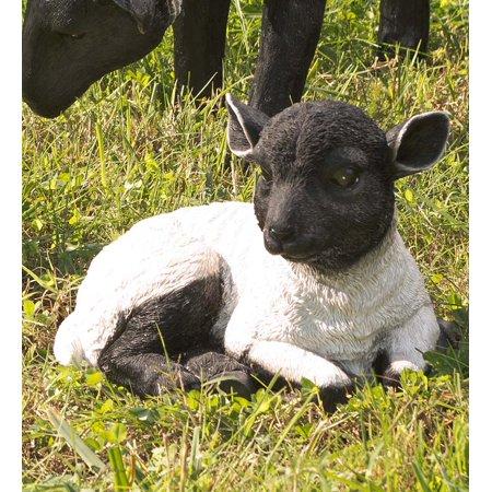 Plow & Hearth Resting Lamb Suffolk Sheep Garden Statue in